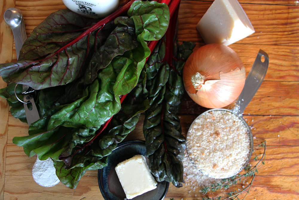 Ingredients for Creamed Chard with Buttery Breadcrumbs. Photo: Wendy Goodfriend