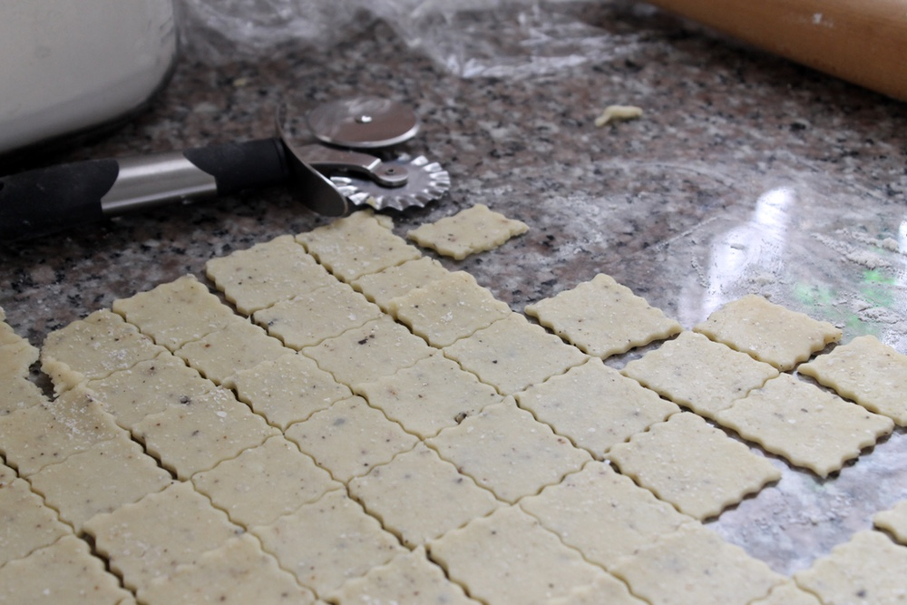 Use a fluted pastry cutter for the most Cheez-It-like results. Photo: Kate Williams