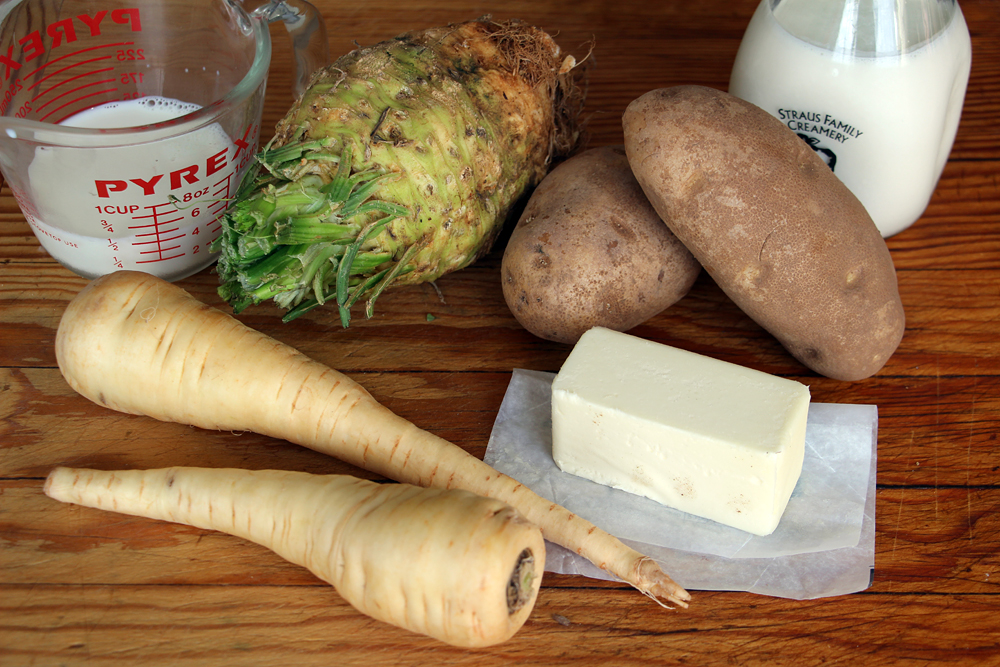 Ingredients for Celery Root–Parsnip–Potato Mash. Photo: Wendy Goodfriend