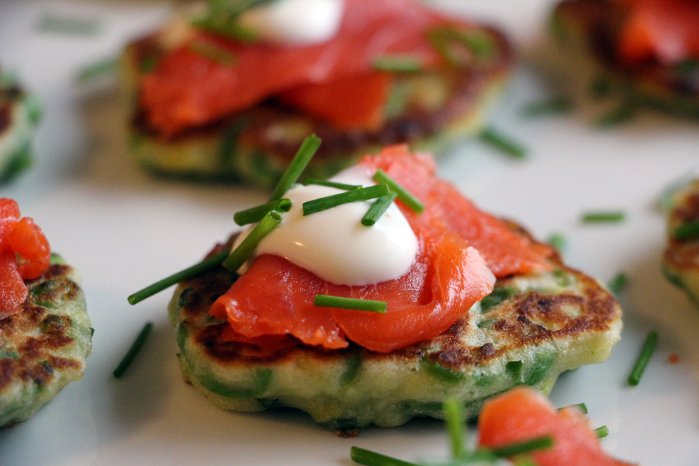 Sweet Pea Pancakes with Smoked Salmon and Crème Fraiche. Photo: Wendy Goodfriend