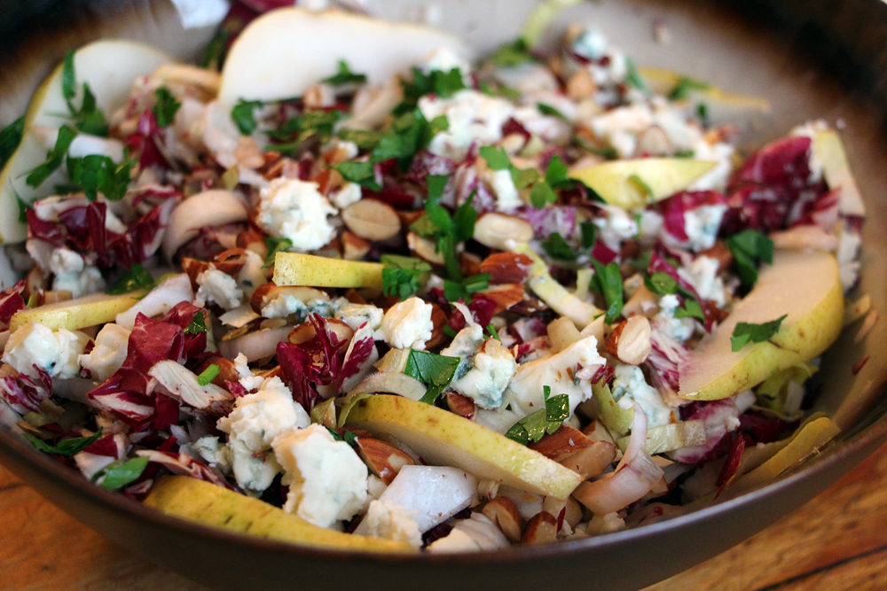Bitter & Sweet: Endive-Radicchio Winter Salad with Pears, Blue Cheese, and Almonds