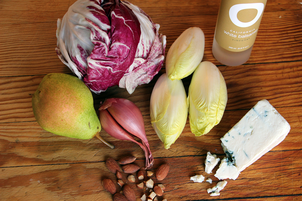 Ingredients for Endive-Radicchio Salad with Pears, Blue Cheese, and Almonds. Photo: Wendy Goodfriend