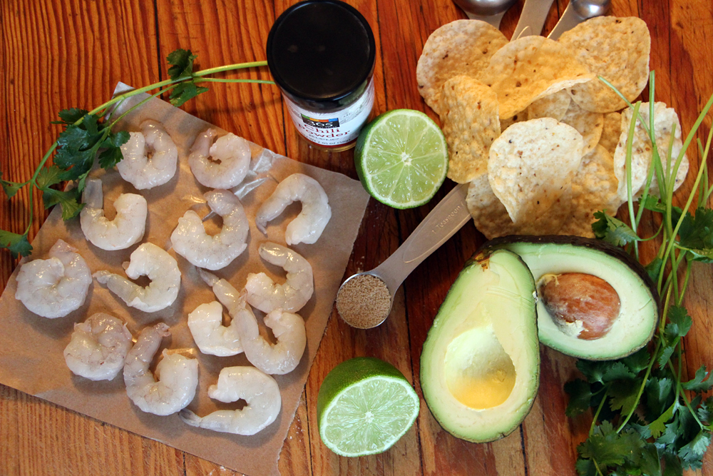 Ingredients for Chili-Lime Shrimp and Guacamole Tostadas. Photo: Wendy Goodfriend