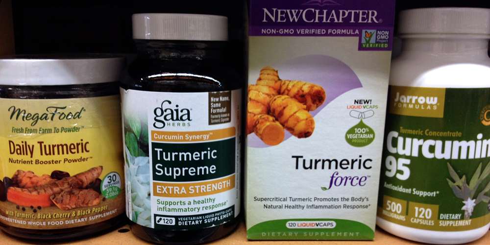 A few of the curcumin supplements available at Whole Foods. Photo: Lisa Landers