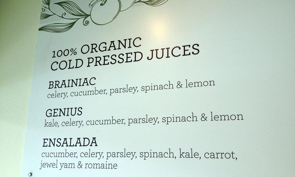 Wall menu at Urban Remedy's Mill Valley shop. Photo: Lisa Landers