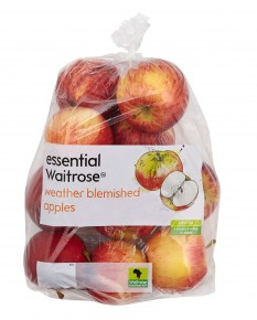 "This summer, U.K. supermarket chain Waitrose stocked apples prominently branded as ""weather blemished"" – the result of extensive damage from hail at its South African farm suppliers. Photo: Courtesy of Waitrose"