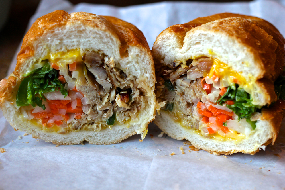 A charcoaled pork bánh mì from Kim's Sandwiches. Photo: Jeff Cianci