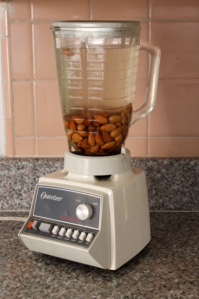 Drain the soaked nuts and add them to a blender with more cold water to cover. Photo: Kate Williams