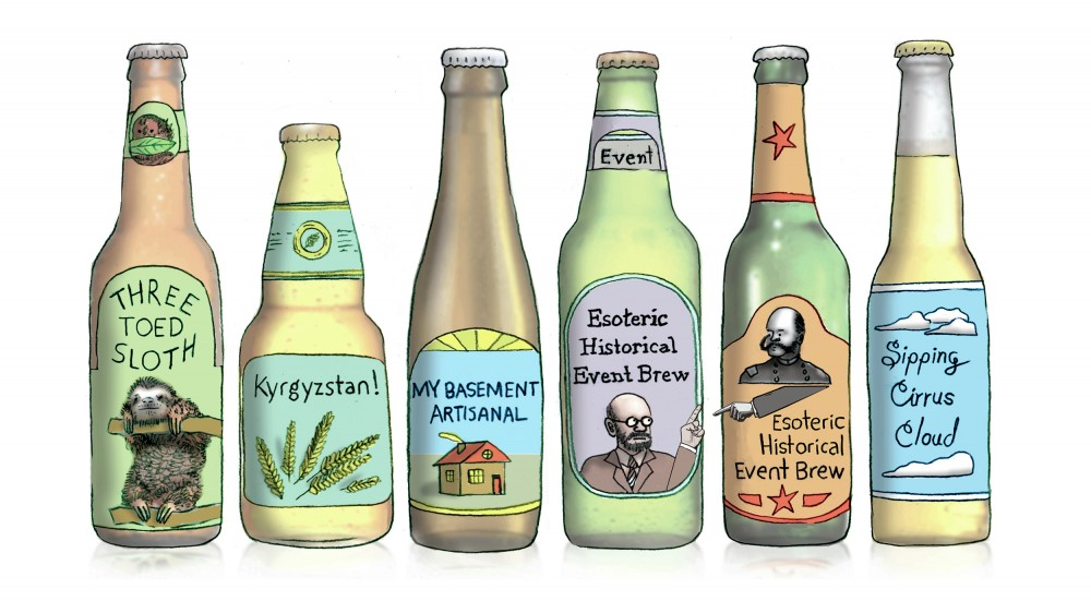 With so many craft breweries now in operation, just about every beer name you can imagine is taken. That's making it harder for newcomers to name that brew without risking a legal fight. Illustration: Leif Parsons for NPR