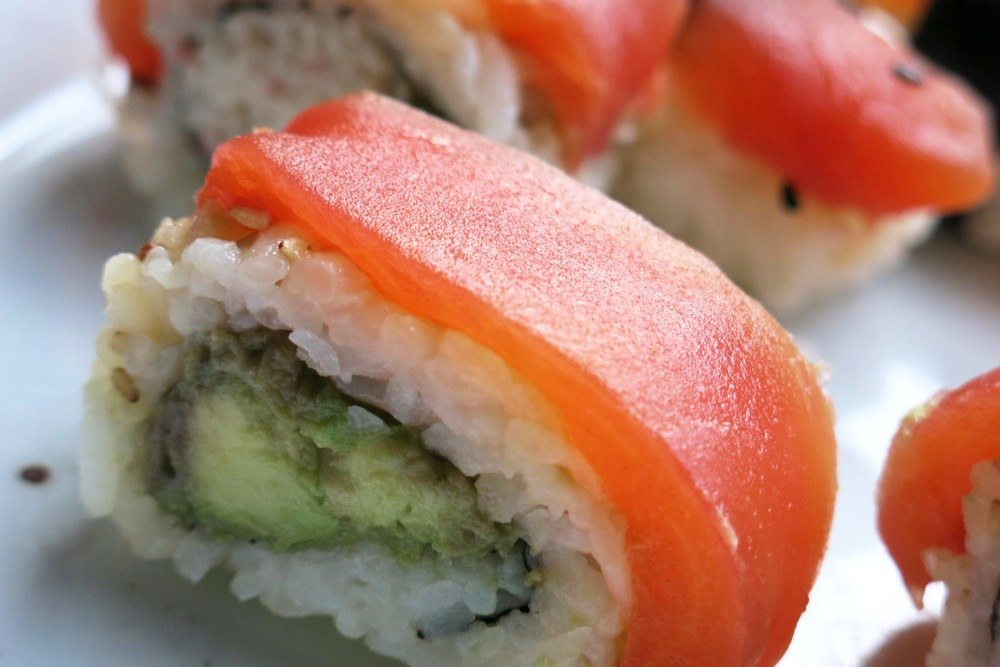 Chef James Corwell's nigiri sushi rolls made with Tomato Sushi, a plant-based tuna alternative, in San Francisco. Photo: Alastair Bland for NPR