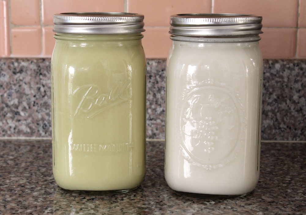 Homemade pistachio and almond milks. Photo: Kate Williams