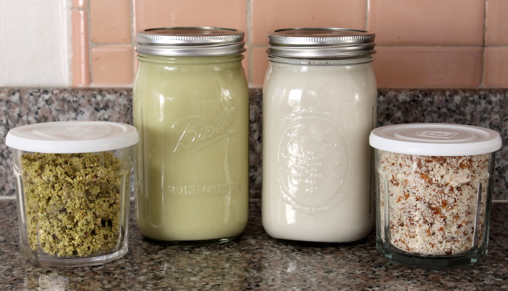 Homemade pistachio milk, almond milk, and nut meal. Photo: Kate Williams