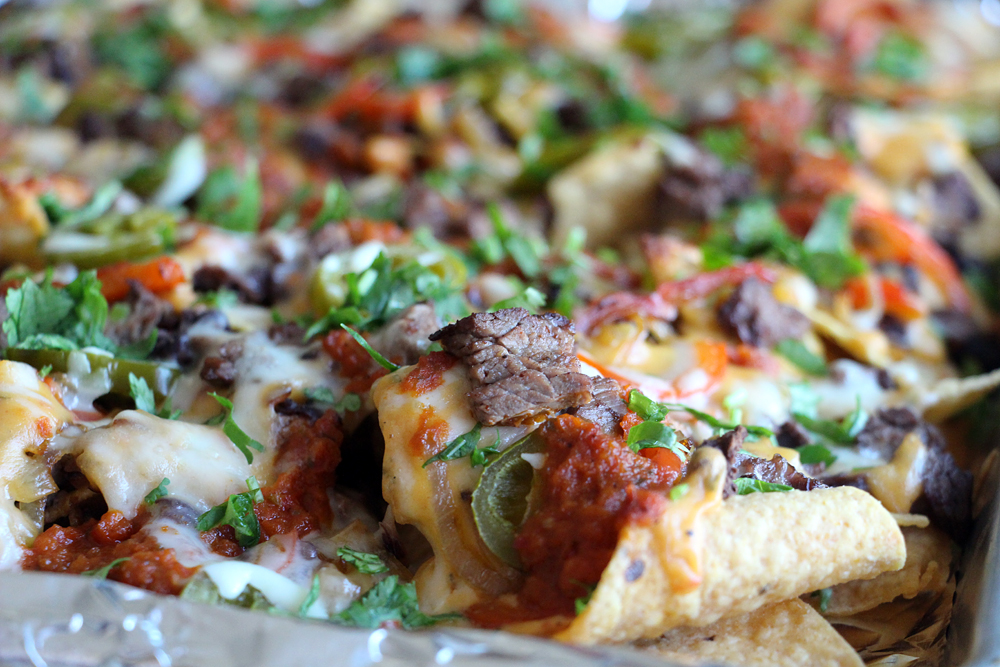 Grilled Steak Fajita Nachos with Chile con Queso