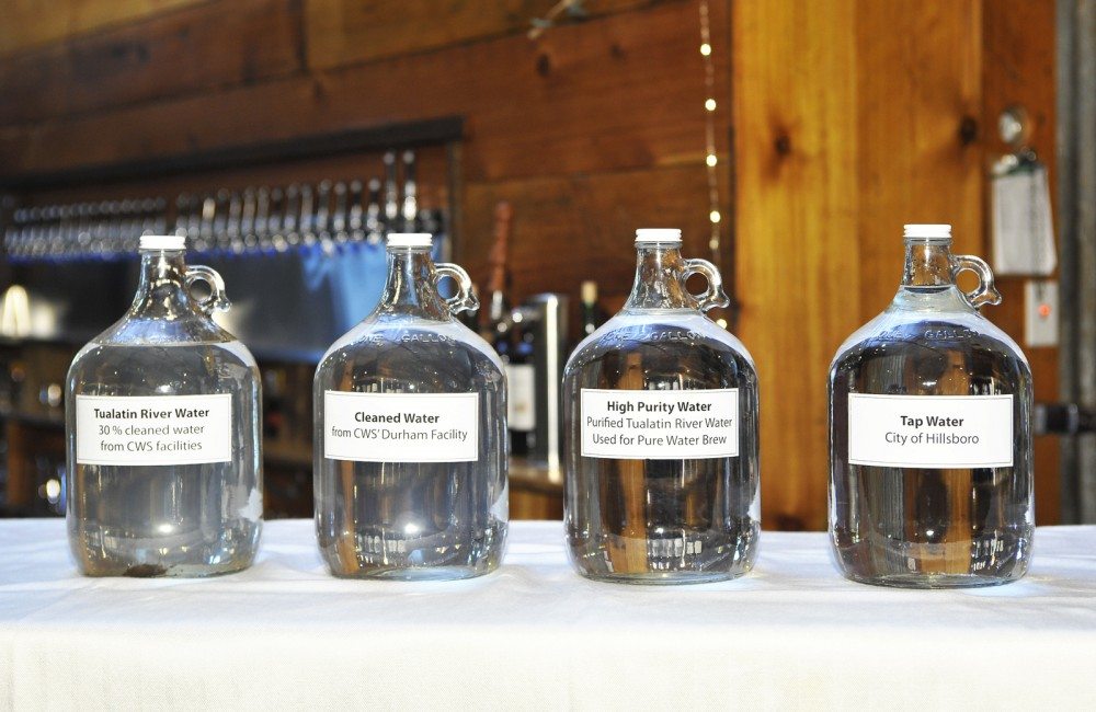 Water samples at the Clean Water Services brewing competition last year used to compare their high-purity water to other local sources of water. Photo: Courtesy of Clean Water Services