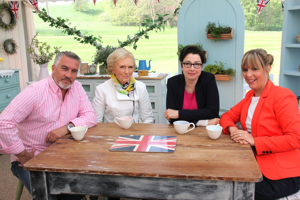 Judges Mary Berry and Paul Hollywood with Great British Baking Show presenters Sue Perkins and Mel Giedroyc. Courtesy of Love Productions.