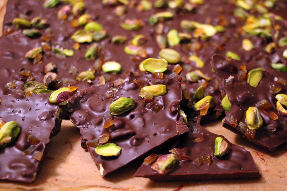 Salted Pistachio, Candied Orange, and Dark Chocolate Bark. Photo: Wendy Goodfriend