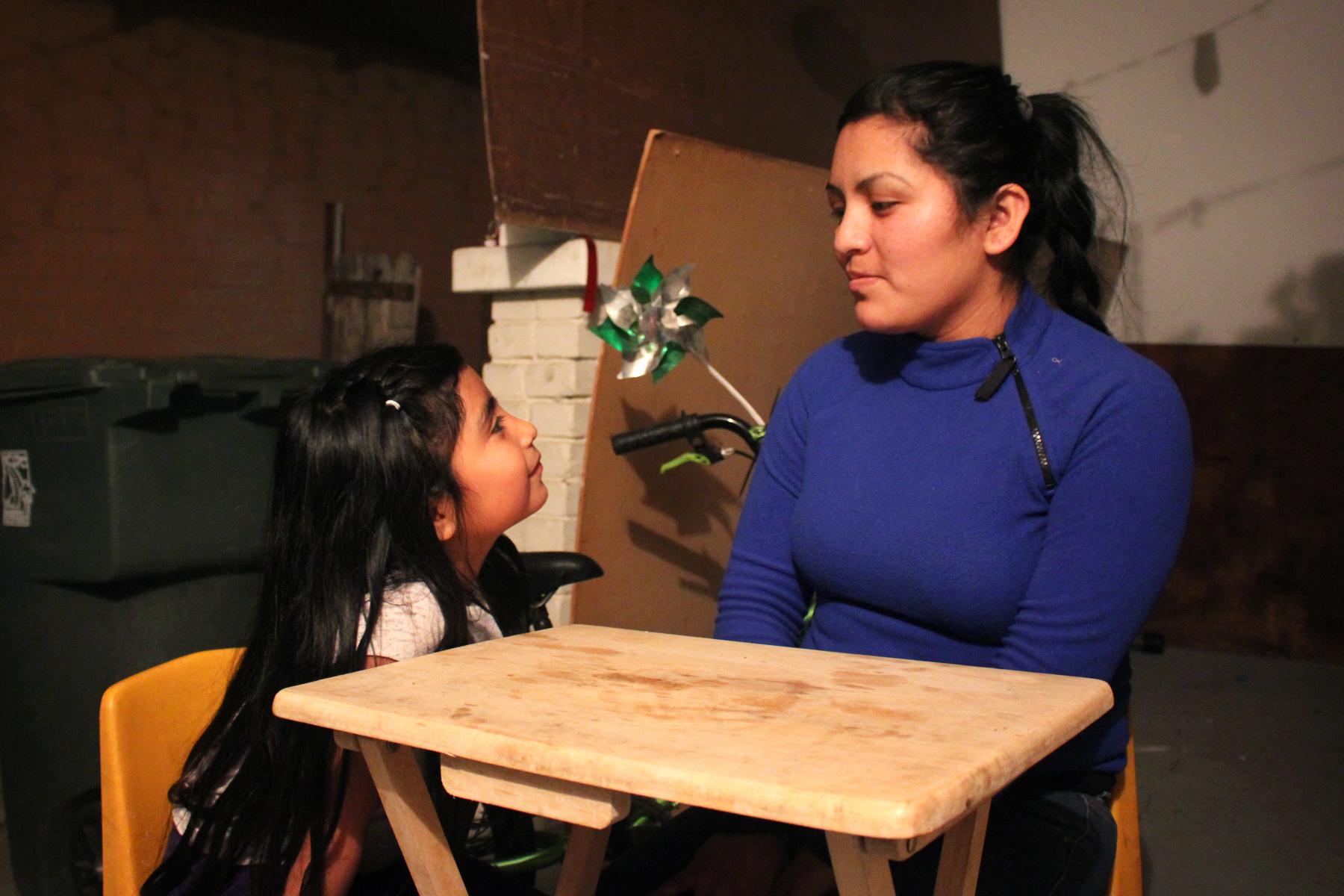 Farm worker Lorena Hernandez (right) with her daughter Luzliliana. Photo: Dan Charles/NPR