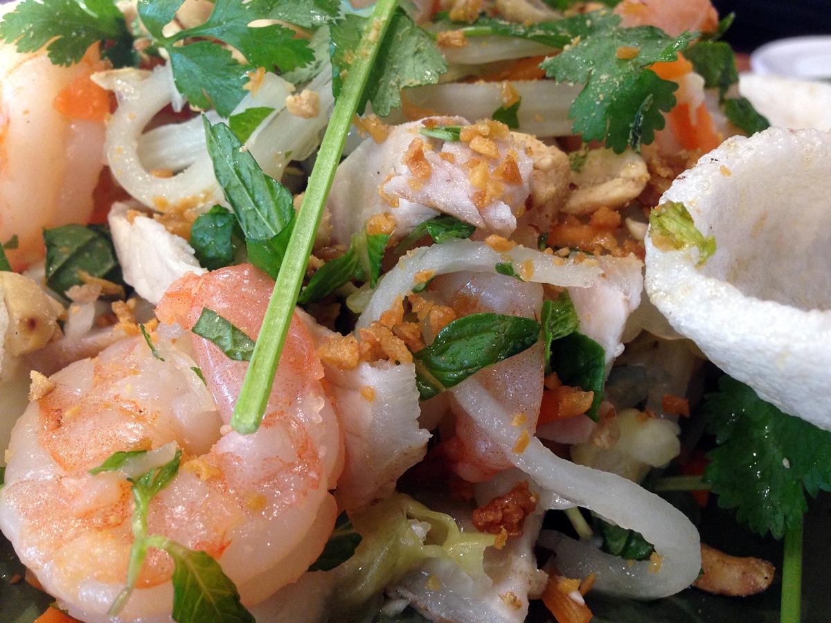 Gỏi sứa tôm thịt: Shrimp, jelly fish, pork, lotus stems, mint, peanut, cilantro, carrots, daikon = delicious! Photo: Rachael Myrow