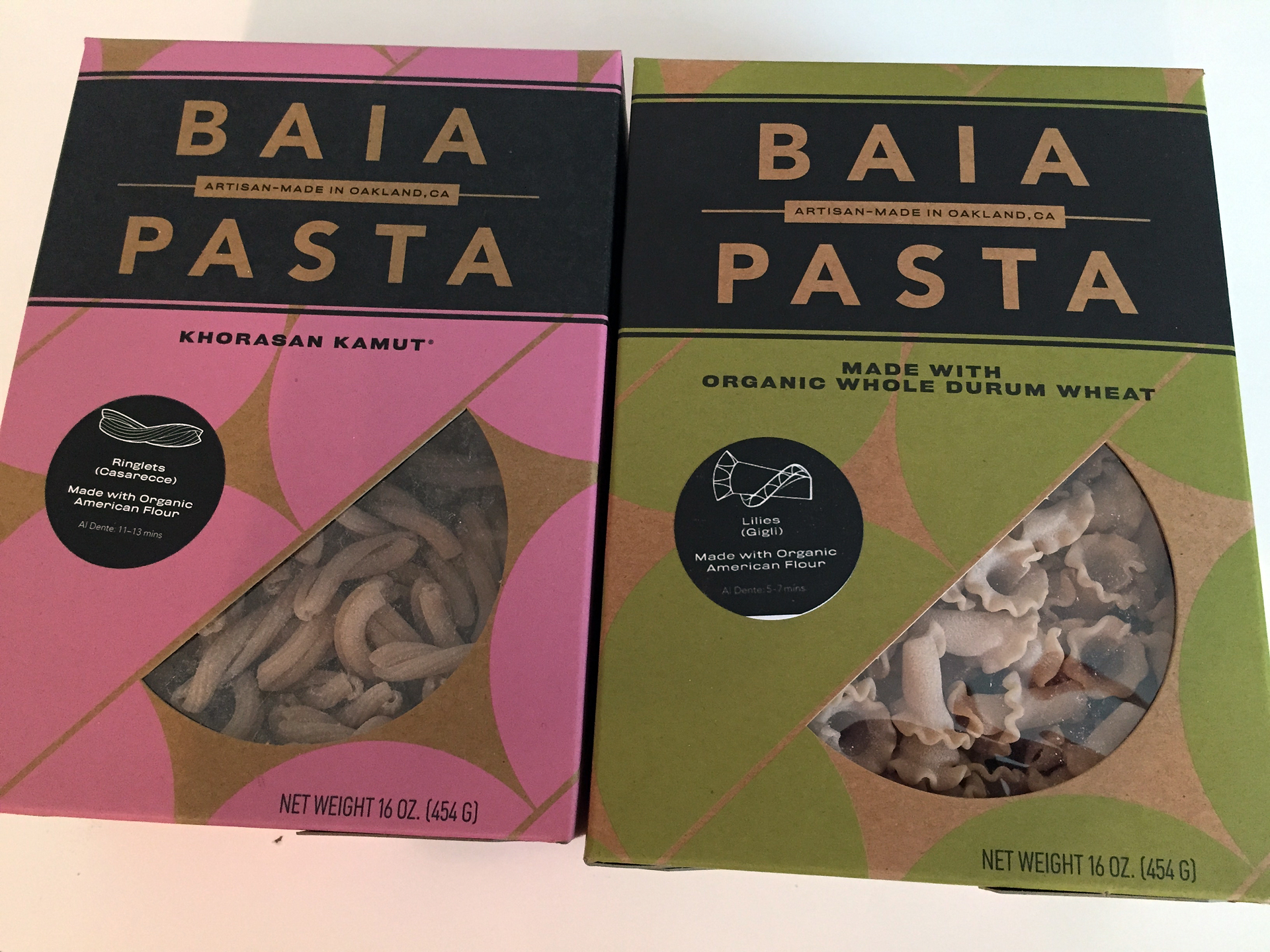 Baia Pasta comes in varieties like kamut and spelt, in addition to whole wheat.