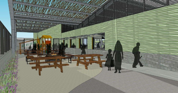A rendering of People's Community Market shows a dining area at its front entrance. Image: People's Community Market