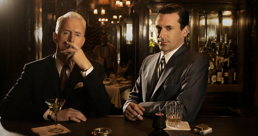 Roger Sterling (Roger Slattery) and Don Draper (Jon Hamm), at the bar again. Photo: AMC