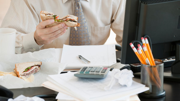 "Eating at your desk day after day? Research suggests ""staying inside, in the same location, is really detrimental to creative thinking,"" says management professor Kimberly Elsbach. Photo: 145/Tom Grill/Ocean/Corbis"