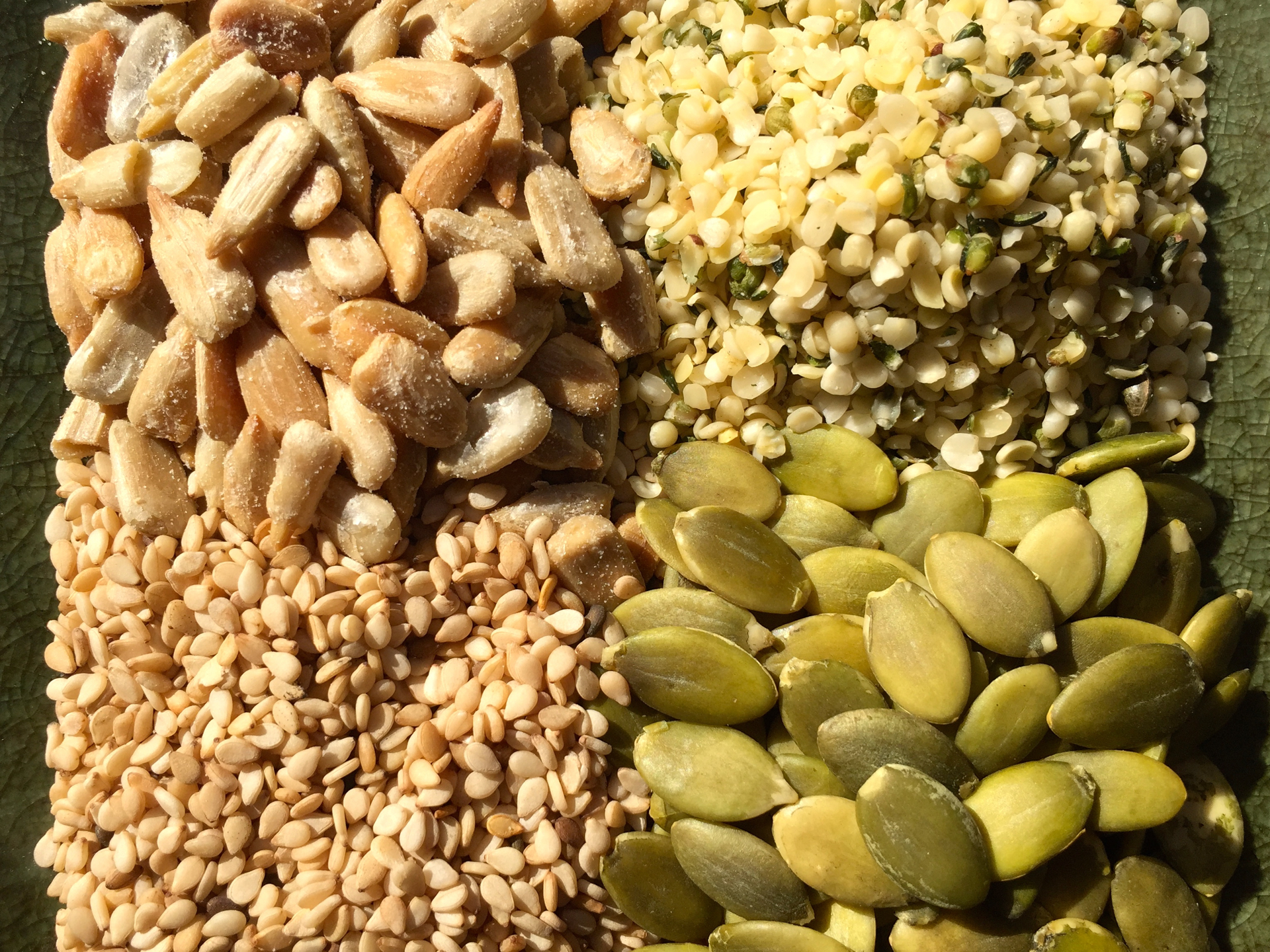 Four types of seeds: hemp, sunflower, pumpkin, sesame. Photo: Lisa Landers