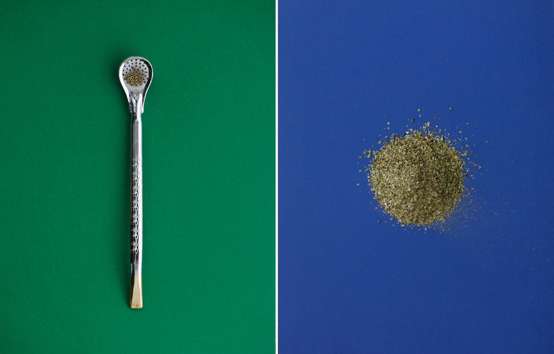 (Left) A bombilla, the metal drinking straw with a strainer at one end that's used to sip yerba mate. (Right) Mate leaves. Photos: Ryan Kellman/Meredith Rizzo/NPR