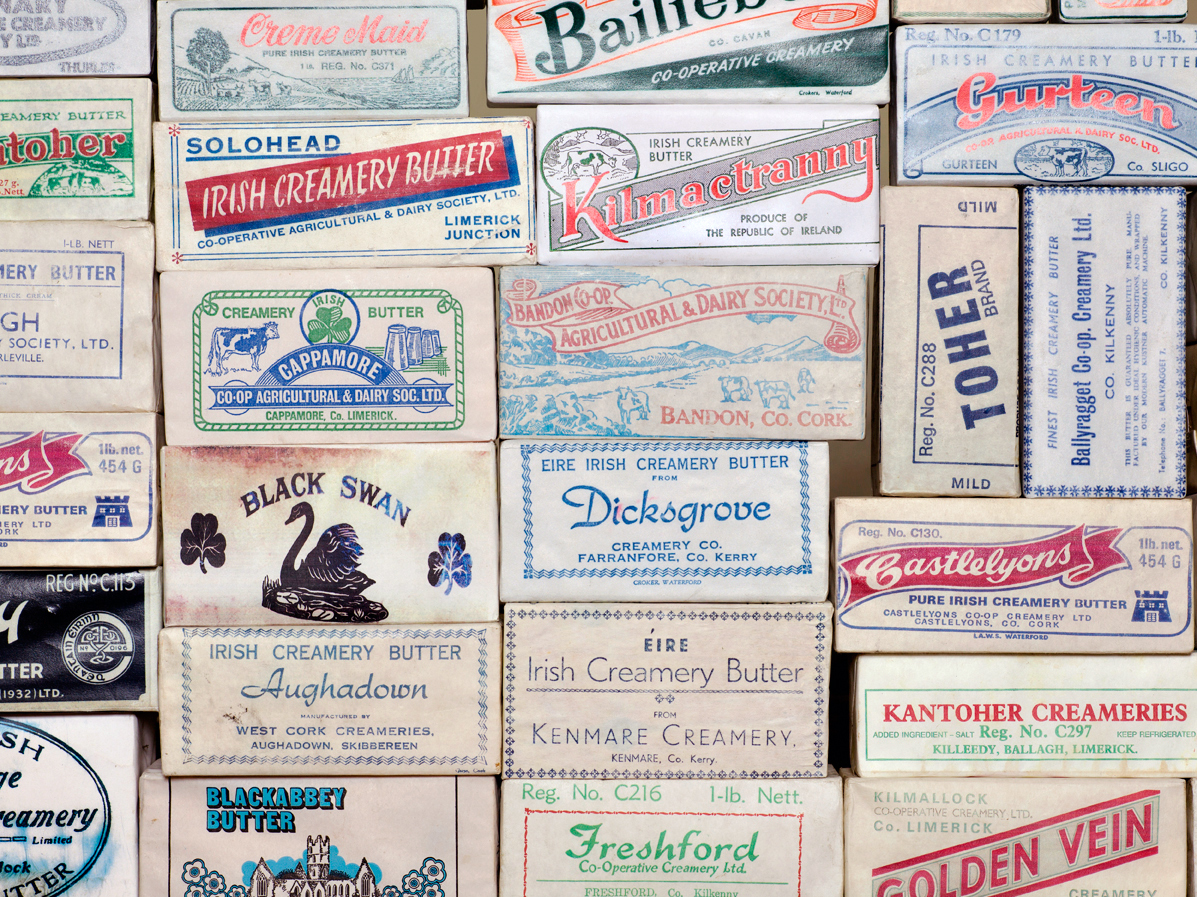 Butter labels from Irish creameries operating in the 1970s. Photo: Roland Paschhoff/Cork Butter Museum
