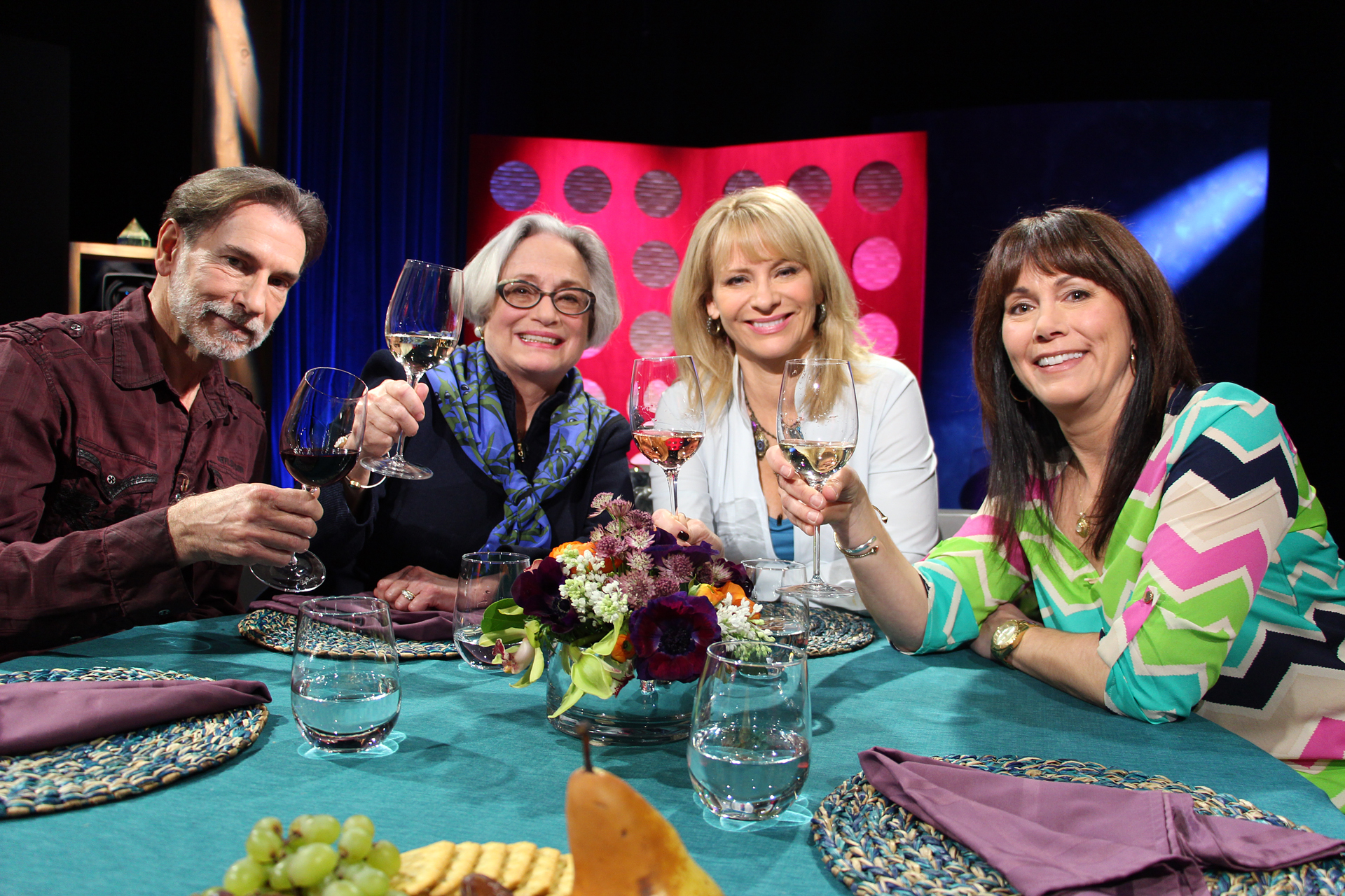 Check, Please! Bay Area host Leslie Sbrocco and guests on set for Season 10 premiere.