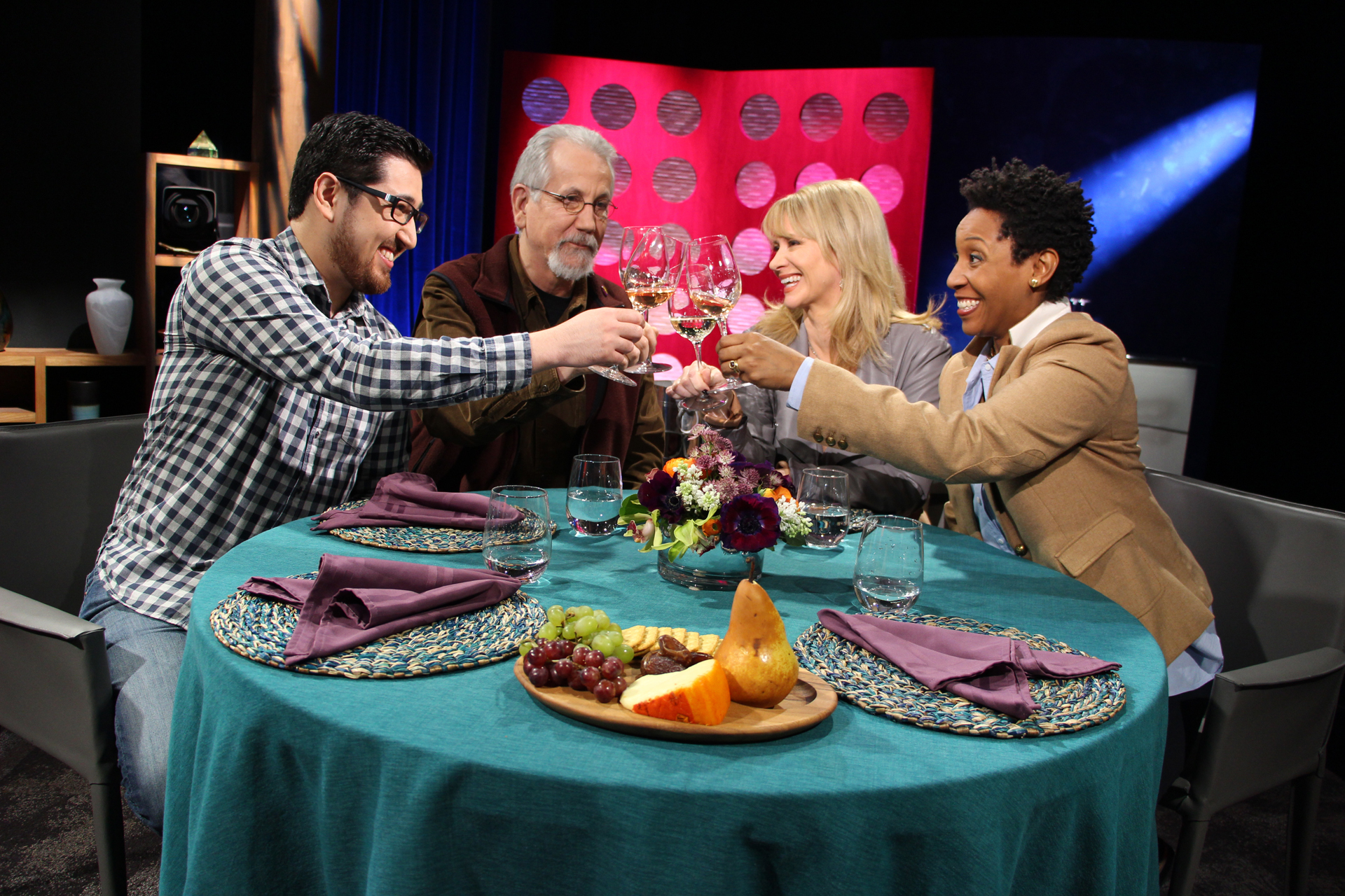 Check, Please! Bay Area host Leslie Sbrocco and guests on set for the second episode of Season 10.