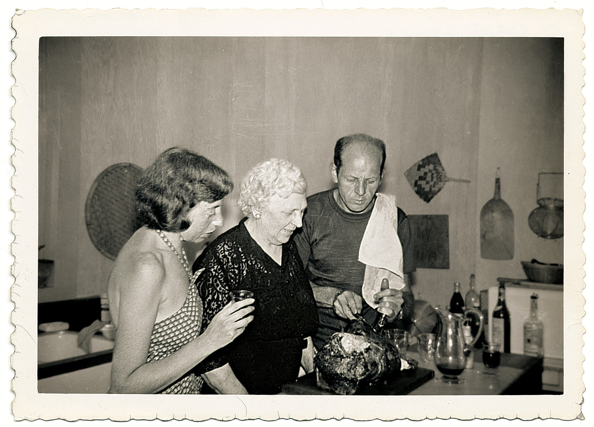 Jackson Pollock cooks with his wife, the artist Lee Krasner, and his mother, Stella Pollock, in the kitchen of his home in Springs, in East Hampton, N.Y., 1950