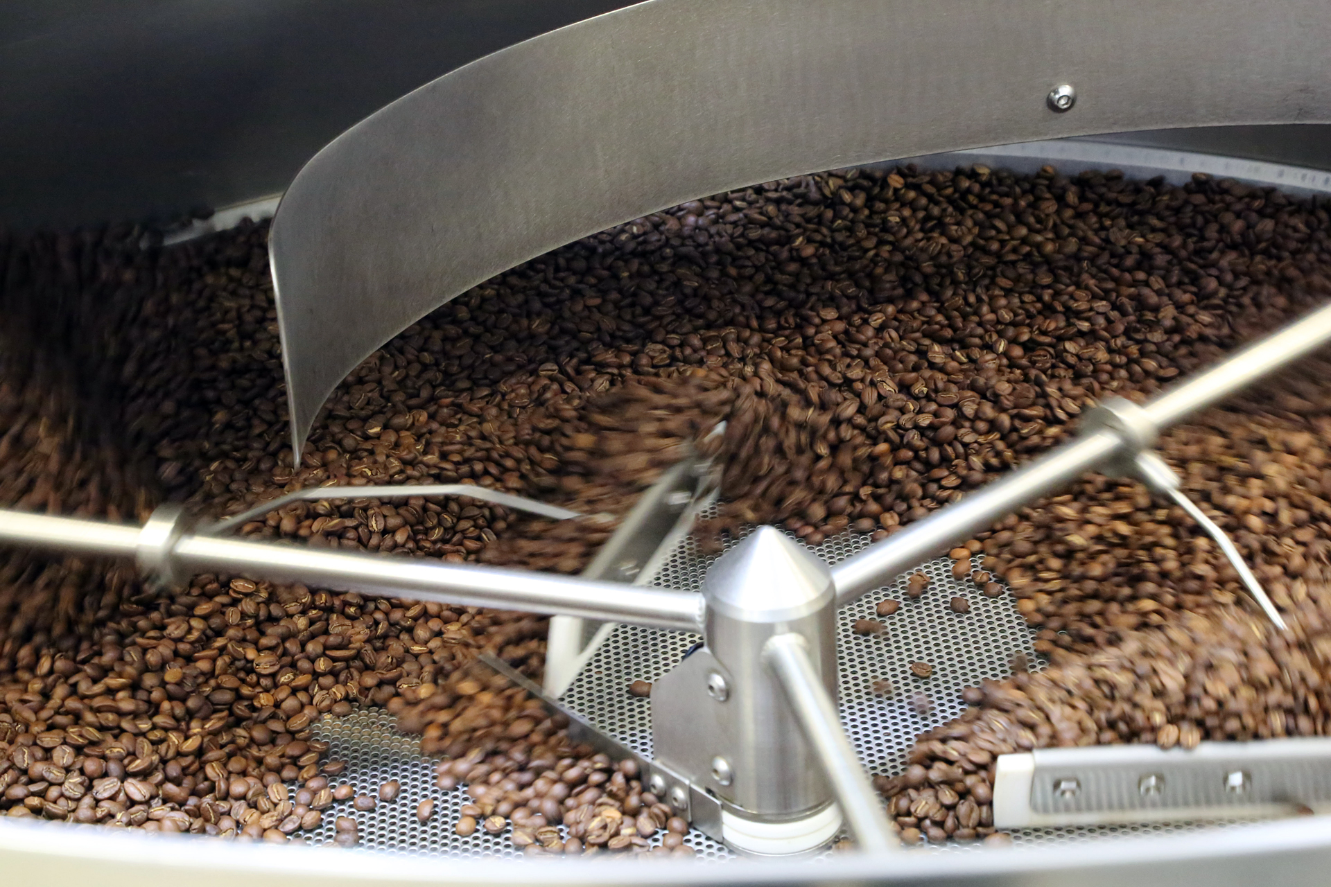Beans inside the Loring Roaster.
