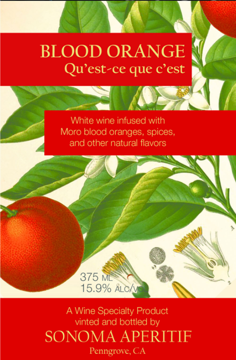 "Blood orange label. Strict and sometimes puzzling regulations prohibited Hagar-Rush from putting ""aperitif"" on her labels so instead, she puckishly calls her essences ""Qu'est-ce que c'est"" (what is it?)"