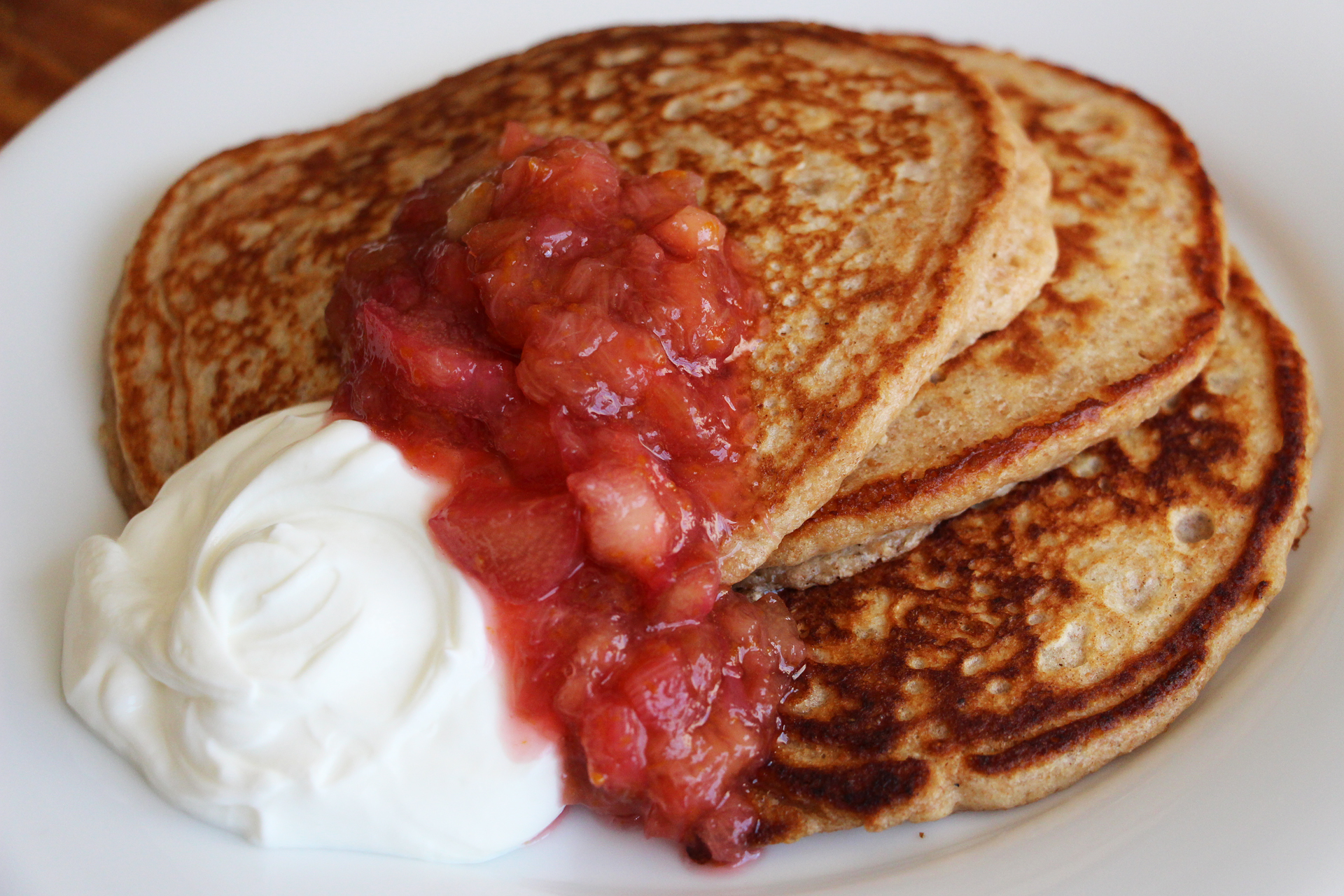 Multigrain Pancakes with Rhubarb-Orange Compote and Greek yogurt