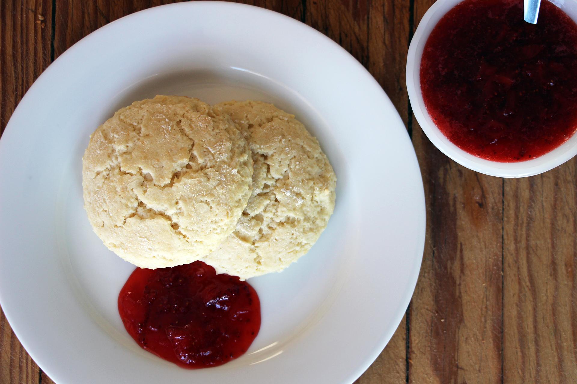 Lemon Scone Breakfast Cookies with Quick Strawberry Jam