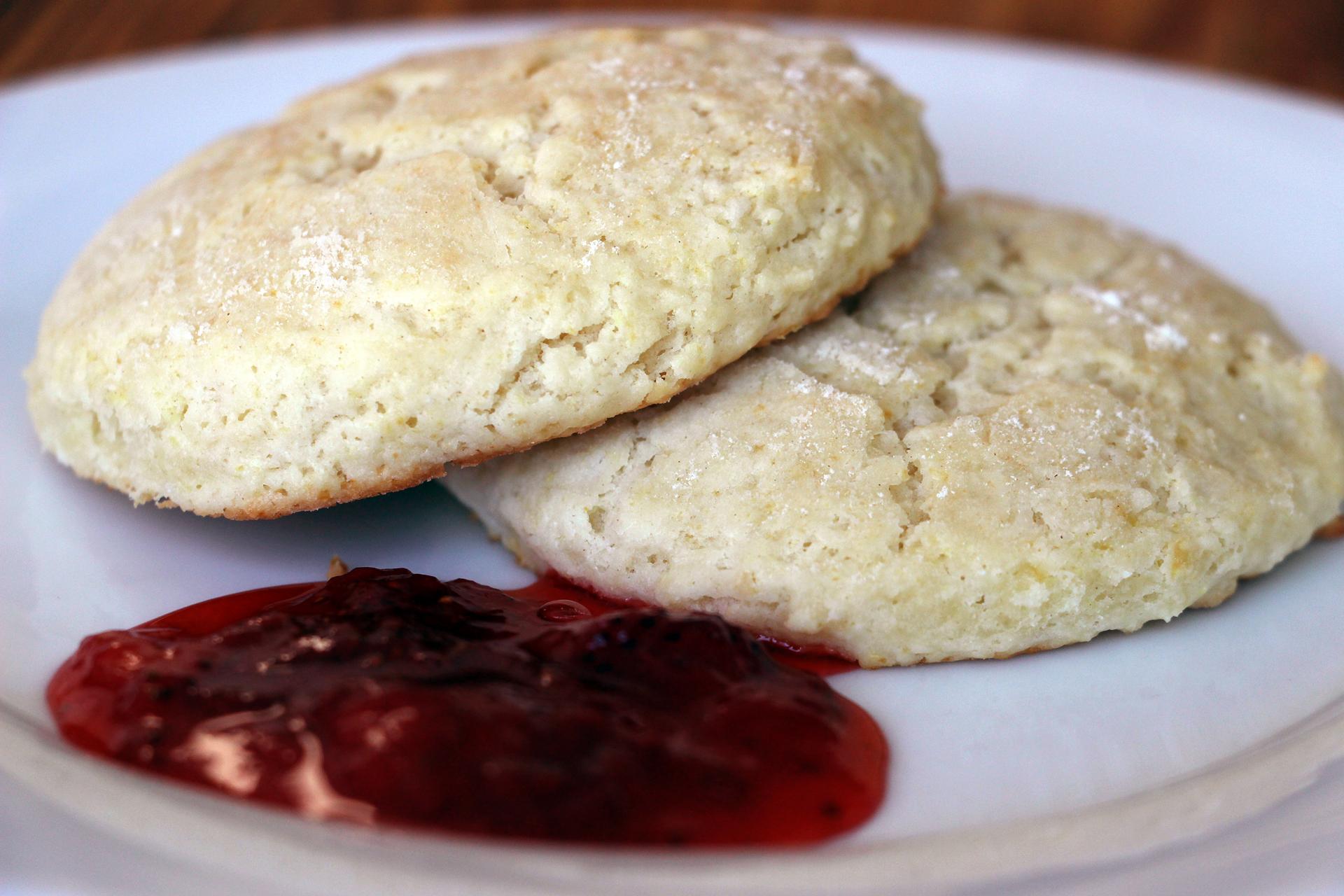 Lemon Scone Breakfast Cookies with Quick Strawberry Jam.
