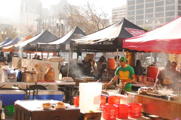 Food stands at Ferry Plaza Farmers Market.