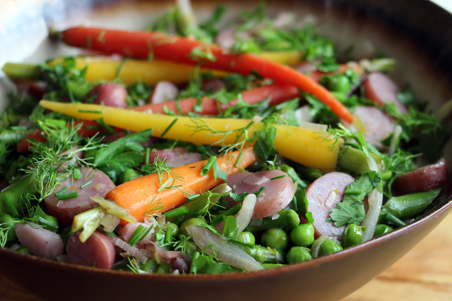 Springtime Vegetable Ragout with Asparagus, New Potatoes, Baby Carrots, Fennel, Fresh Peas, and Herbs