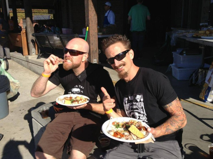 Mark Dessert (left, pictured with friend), founder of Raise the Root Cooking Collective, is now running Port Kitchens in collaboration with Port Workspaces in Uptown Oakland.