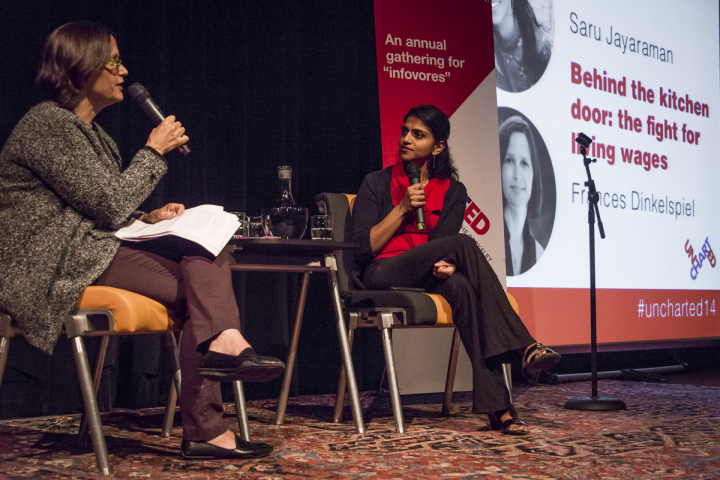 Saru Jayaraman, seen here speaking with Berkeleyside's Frances Dinkelspiel at Uncharted 2014, says in the long run wage increases in the restaurant field will be better for business.