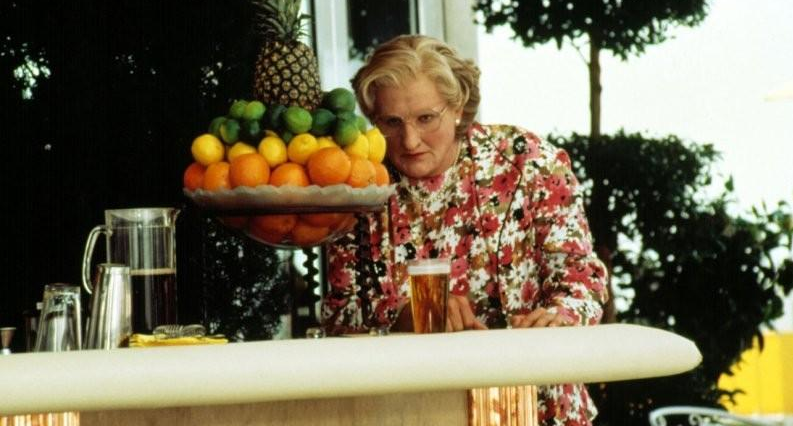 Robin Williams in character as Mrs Doubtfire at the Claremont