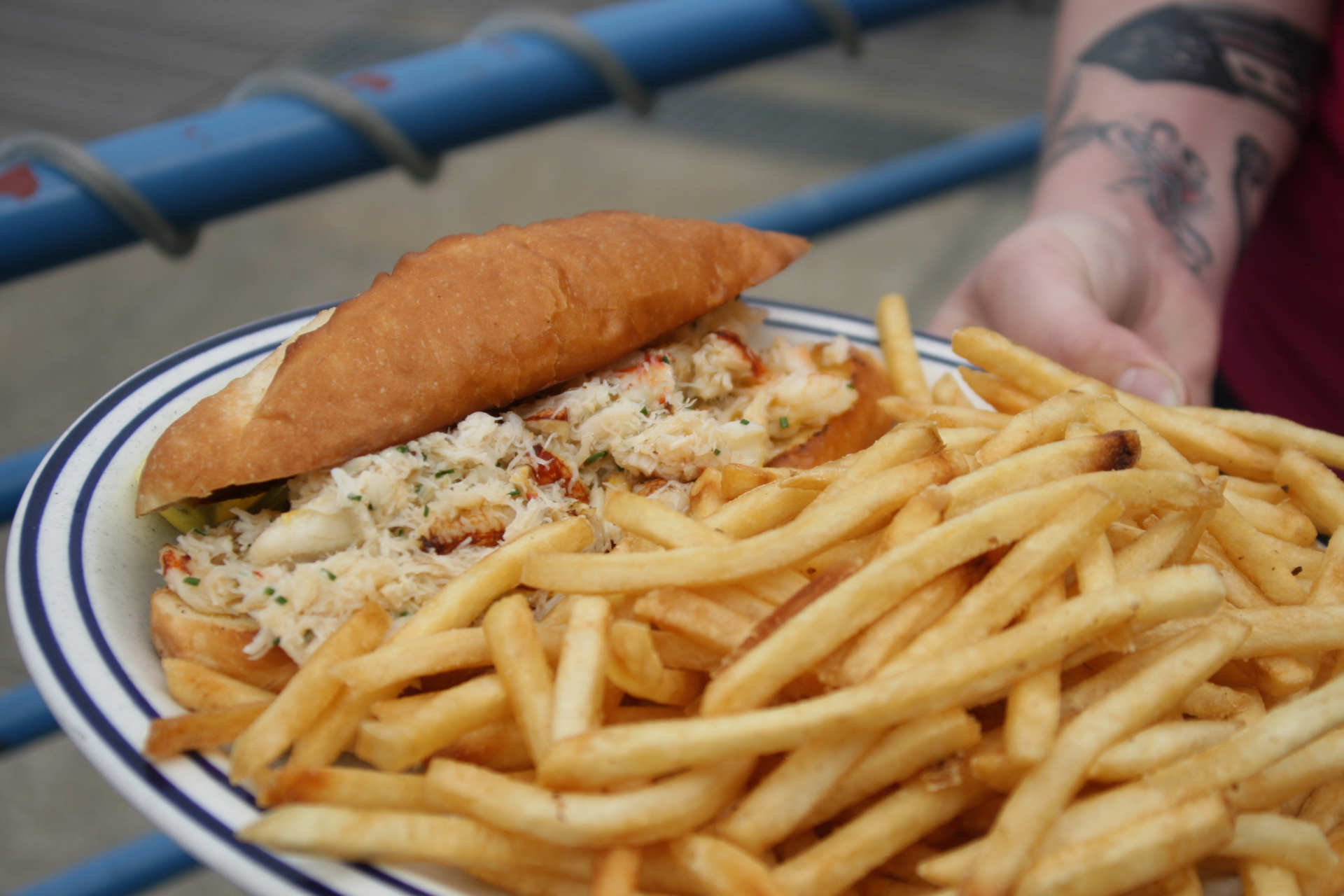 Crab roll made with Dungeness crab, when in season.