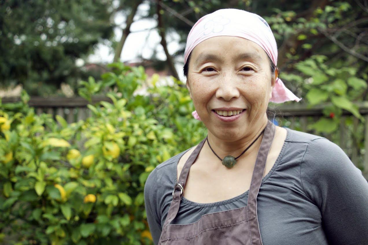 Ayako Iino in her garden.