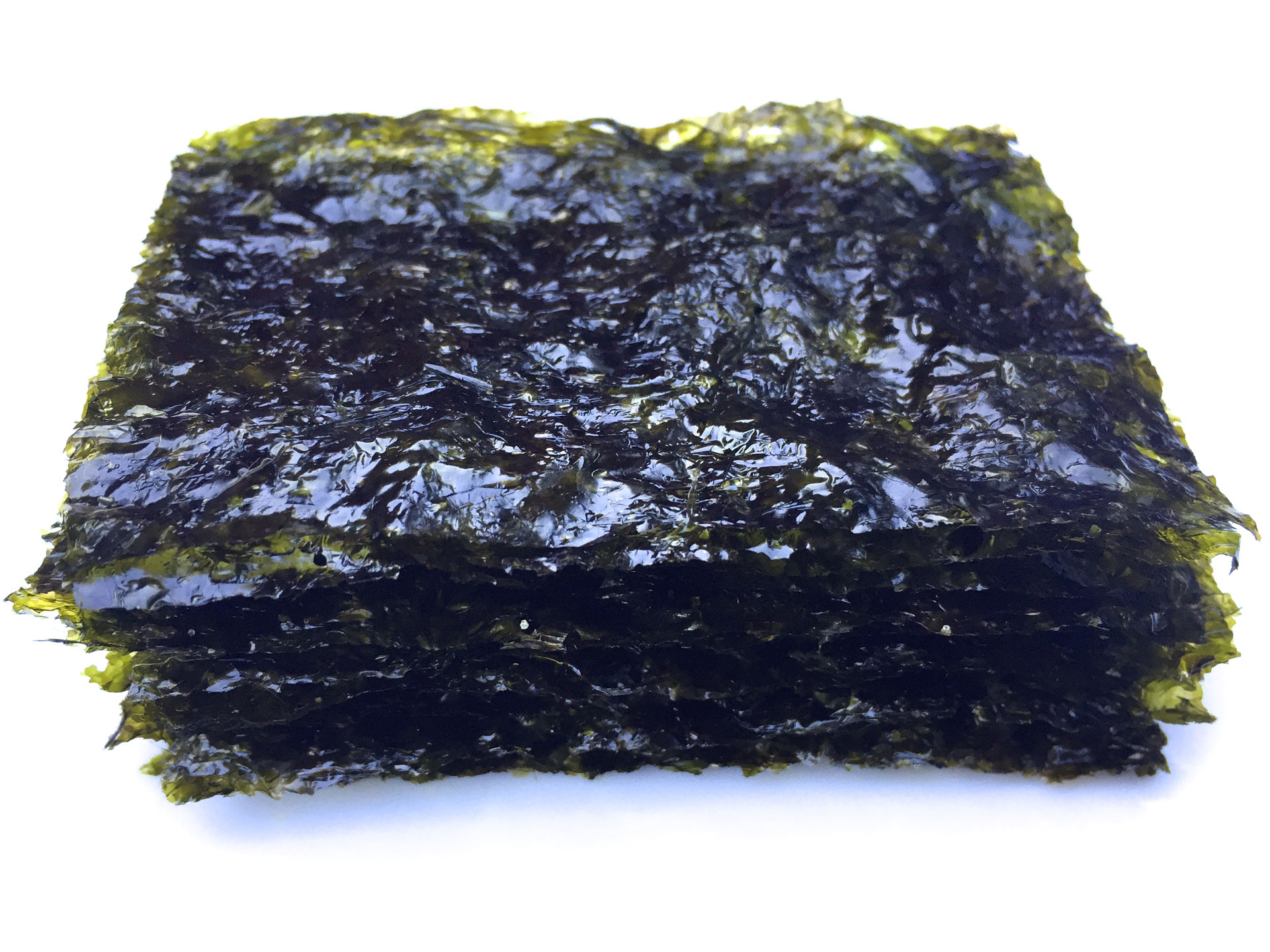 Roasted nori cut into snack sized sheets