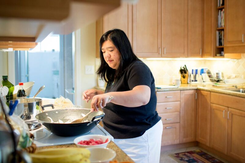 Sharon Wong prepares a peanut, tree nut, egg, dairy, and shellfish-free meal for her family.