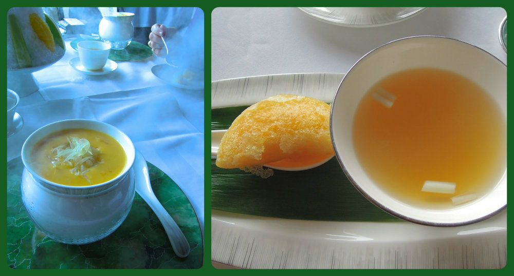 Mango dessert and lobster dumpling and broth, Yan Toh Heen.