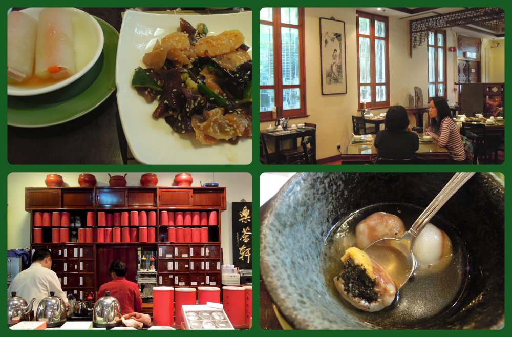 Long Cha Tea House (vegetarian) in Hong Kong Park next to Flagstaff Museum of Tea Ware.