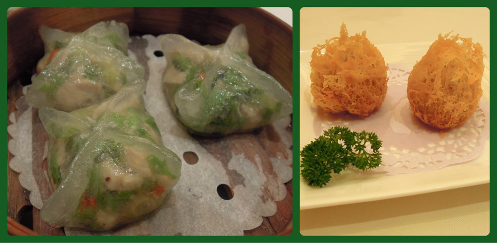 Lei Garden's crystal skin dumplings and lacy taro balls.