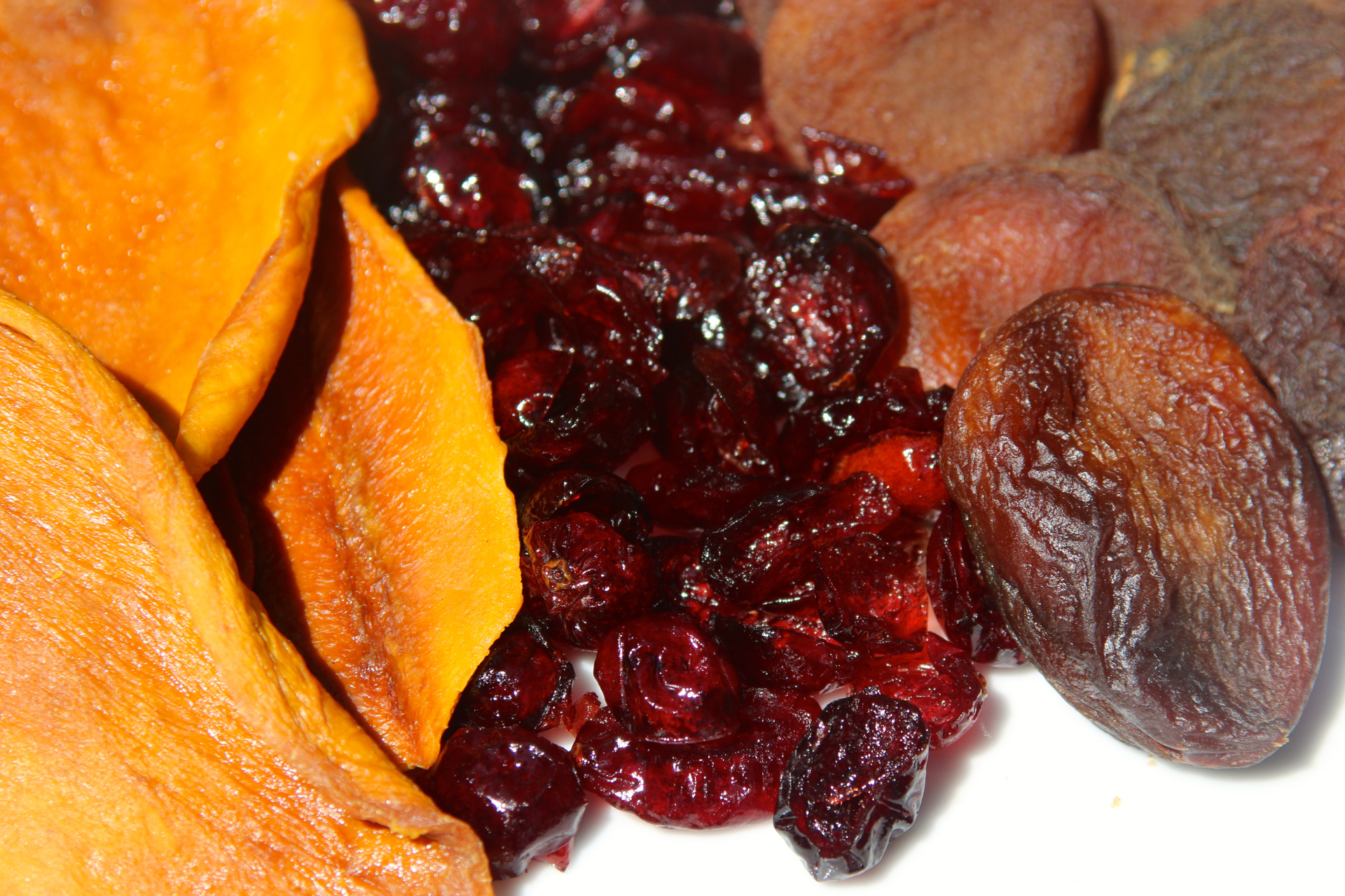 Dried mangos, cranberries and apricots.